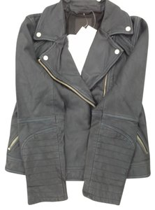 Abercrombie & Fitch New Leather Leather Moto Biker grey Leather Jacket