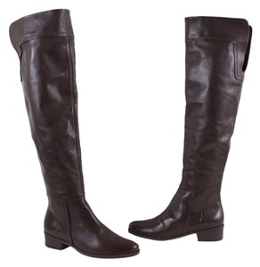 SCHUTZ Otk Fold Over Cuff Over The Knee Leather Brown Boots
