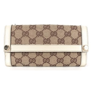 Gucci Beige GG Monogram Canvas White Leather Trim Continental Wallet