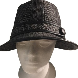 Arden B. wool blend fedora herringbone black hat