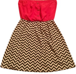 short dress black, cream, red on Tradesy