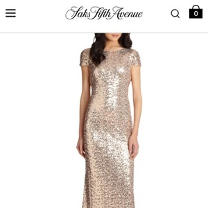 Badgley Mischka Gold/Champagne Sequin Cowl-back Gown Formal Bridesmaid/Mob Dress Size 0 (XS)