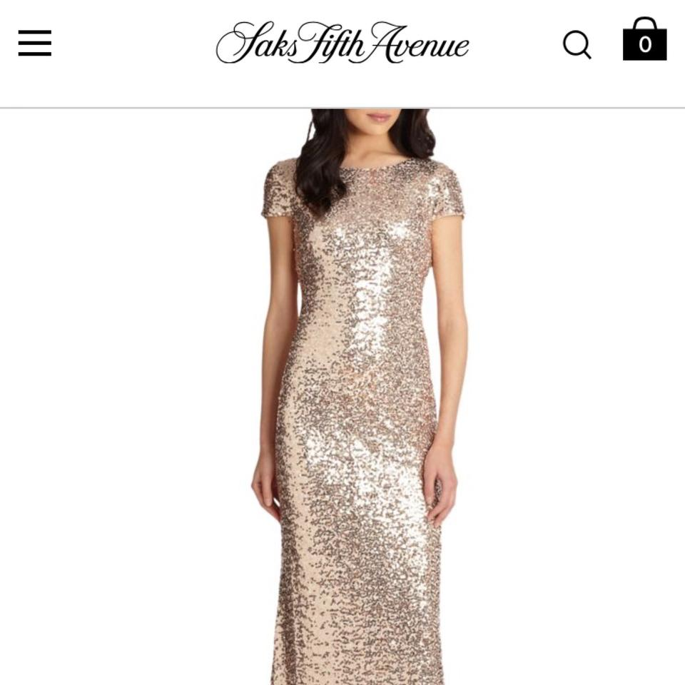 Badgley Mischka Gold/Champagne Sequin Cowl-back Gown Formal ...