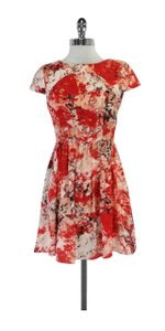 Parker short dress Red & White Floral Silk Cap Sleeve on Tradesy