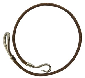 Hermès Hermes Silver&Brown Leather Hook Bracelet