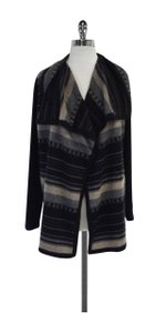 Bloomingdale's Black Grey Print Wool Cardigan