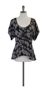 Tracy Reese Grey Spotted Silk Top