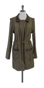 Elie Tahari Military Green Lace Up Braided Jacket