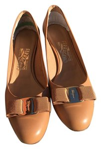 Salvatore Ferragamo Leather Tan Pumps