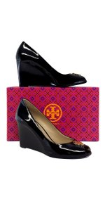 Tory Burch Black Patent Leather Jade Peep Toe Wedges