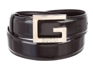 Gucci Black leather Gucci silver tone G logo buckle waist belt XS