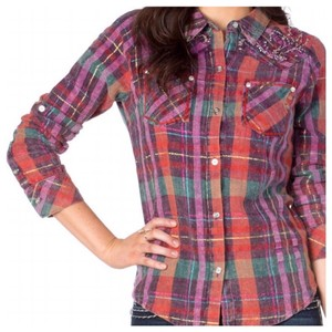 Miss Me Plaid Fleur Embellished Button Down Shirt Purple/Multi