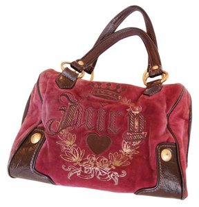 Juicy Couture Velour Satchel in Hot Pink/Brown