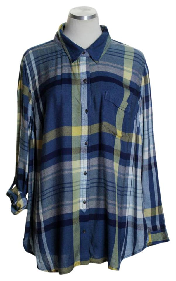 Lucky brand blue multi plaid modal roll tab shirt blouse for Lucky brand button down shirts