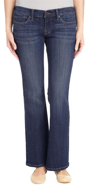 Item - Blue Dark Rinse Easy Rider Stretch Mid-rise Pants Boot Cut Jeans Size 31 (6, M)