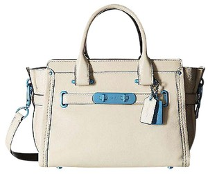 Coach 37908 Chalk Leather Turquoise Carabiner Hardware Swagger 27 Satchel in Ivory