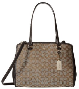 Coach 36912 Khaki Signature Leather Stanton Carryall Satchel Tote in Brown