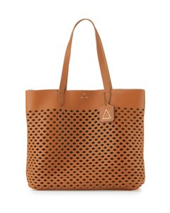 Kelsi Dagger Cognac Leather Laser Cut Leather Dark Tan Tote in Caramel