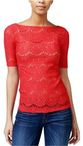 Guess Short Sleeve Lace Top Red
