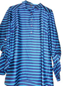 Ann Taylor Button Down Shirt Blue stripe