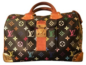 Louis Vuitton Lv Speedy Multi Satchel in Black Murakami Multicoloure