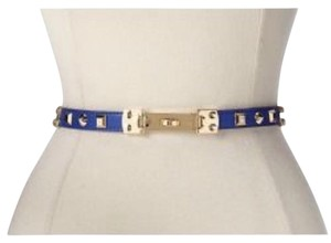 BCBGMAXAZRIA blue gold studded waist belt size Small