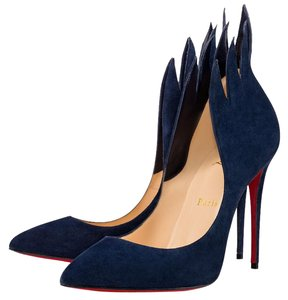 Christian Louboutin Victorina Stiletto Flame Leather Suede Navy Blue Pumps