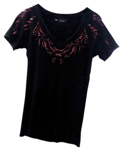 Sinful T Shirt distressed black and red