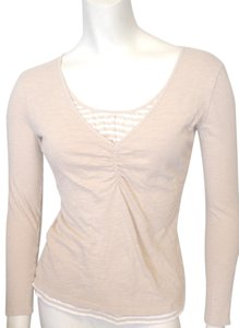 Style & Co Mock Twin Longsleeve Cotton Knit Casual Cool T Shirt Beige