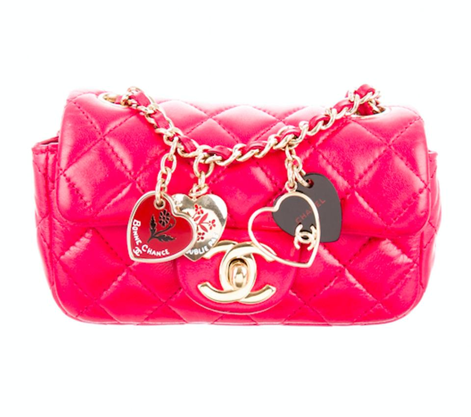 ed74d86bd6d0 Chanel Rare Quilted Mini Flap Heart Charm Purse Red Lambskin Leather ...