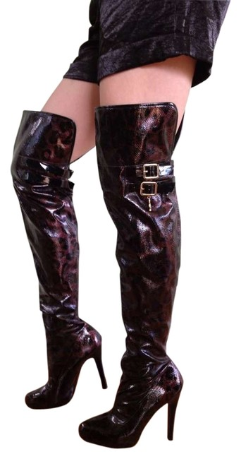 Item - Black & Copper/ Black & Gold 2 Pairs Over The Knee Patent Leather Fabulous Sexy Boots/Booties Size US 8 Regular (M, B)