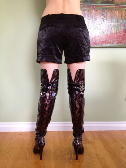 Baby Phat Over Knee Sexy Thigh High Leather Black & Copper/ BLACK & GOLD Boots Image 1