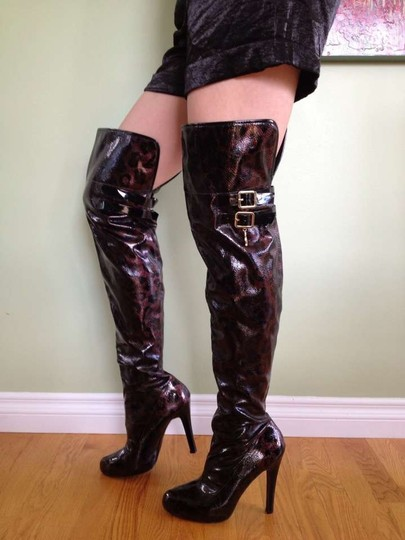 Baby Phat Over Knee Sexy Thigh High Leather Black & Copper/ BLACK & GOLD Boots