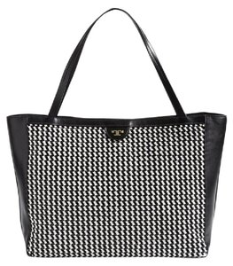 Tory Burch Basketweave Woven Leather Large Tote in Black white