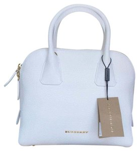 8dfa792631 Added to Shopping Bag. Burberry Crossbody Check Bowling Satchel in White.  Burberry New Small London Grained Greenwood Bowling White Calfskin Leather  Satchel