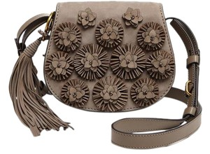 Tory Burch Embellished Floral Boho Tassels Leather Cross Body Bag