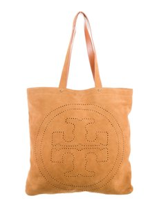 Tory Burch Perforated Suede Boho Logo Leather Tote in Brown tan