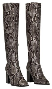Zara Animal Print Snakeskin Leather Knee High Gray Black Boots