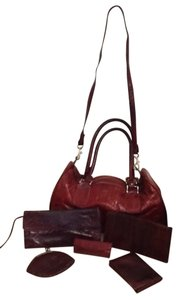 Vintage Eel Skin Bag and Accessories Satchel in Burgundy