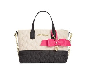 Betsey Johnson Quilted Heart Cross Body Tote in BLACK/BONE