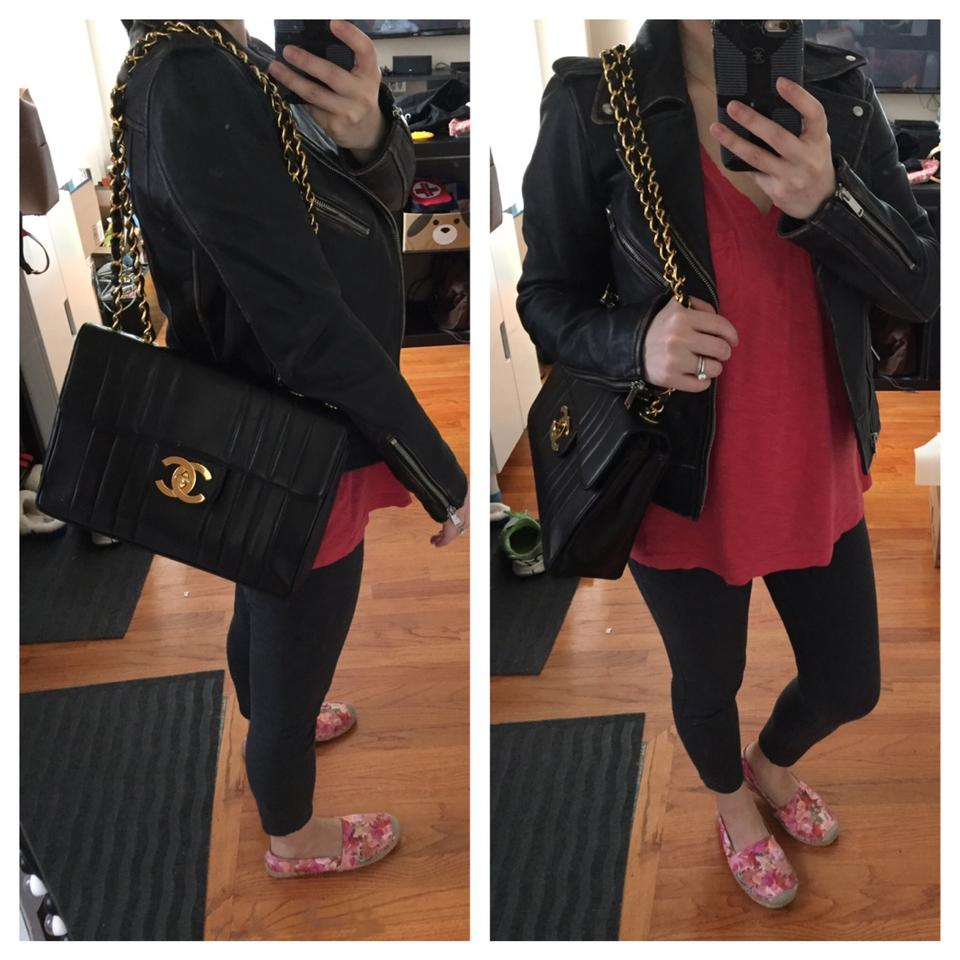 30ae7006b222 Chanel Classic Flap XL Vertical Quilted Black Lambskin Shoulder Bag ...