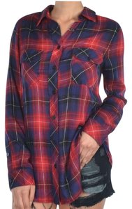 Honey Punch Plaid Plaid Button Down Shirt red