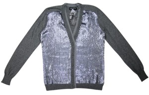 Jones New York Sequin Party Rocker Grey Top silver