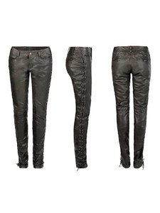 AllSaints Leather Moto Skinny Pants Black
