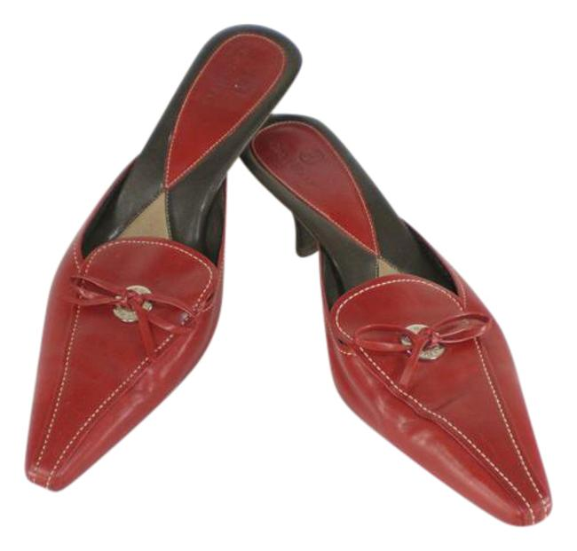 Item - Red Pointed Toe Bow Mules/Slides Size US 8.5 Regular (M, B)