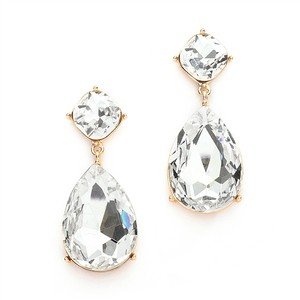 Modern Bold Clear Crystal Pear Drop Bridal Earrings