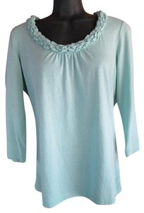 Talbots Knit Spring Summer Blue Green Top Aqua