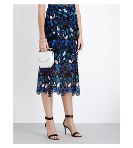 self-portrait Lace Guipure Skirt Cobalt Blue