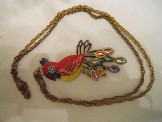 unknown Vintage enamel parrot pendant necklace