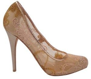 Badgley Mischka Oakes Embroidered Mesh Stilettos Blush, Nude Pumps